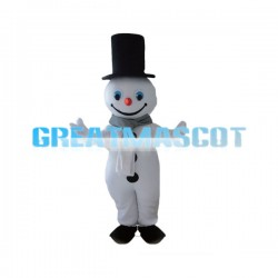 Friendly Snowman In Black High Hat Mascot Costume