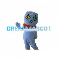 Cute Cartoon Double Pupil Blue Cat Mascot Adult Costume