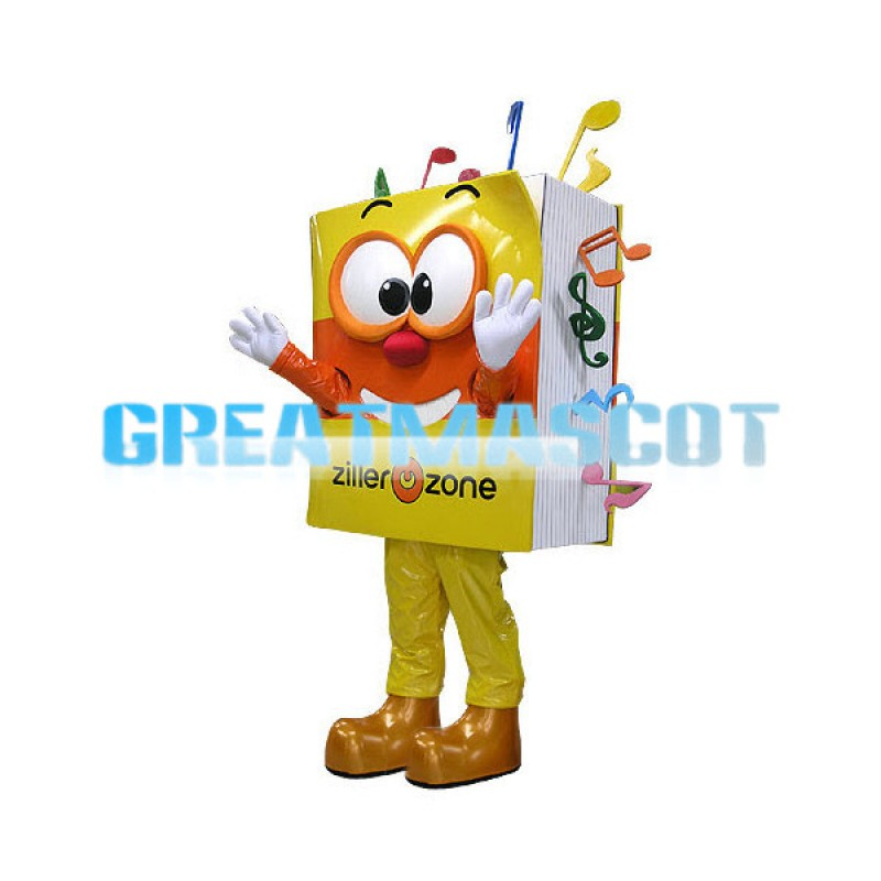 Adult Cartoon Yellow Book With Colorful Musical Notes Mascot Costume