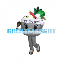 Cartoon Korean Meals In The Grey Bowl Mascot Costume