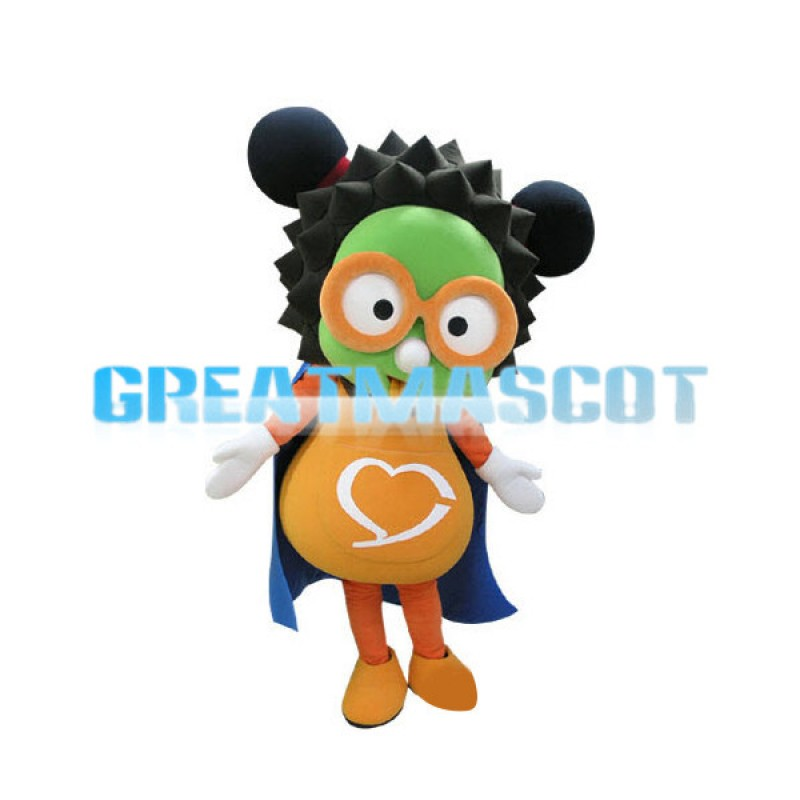 Cartoon Green Face Girl With Yellow Glasses Mascot Adult Costume