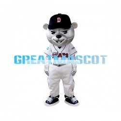 Silver Bear The Baseball Player Mascot Adult Costume