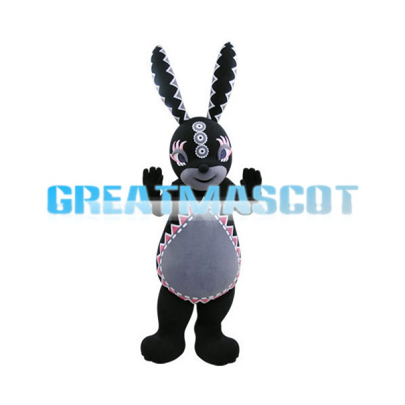 Black Long Eared Rabbit Cartoon Mascot Adult Costume
