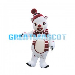 Clown White Bear Mascot Adult Costume
