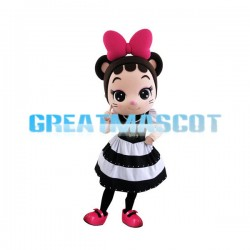 Adult Cute Girl With A Pink Bow Cartoon Mascot Costume