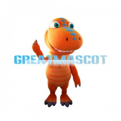 Adult Orange Dinosaur Cartoon Mascot Costume