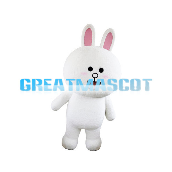 Adult Cartoon Rabbit With Round Face Mascot Costume