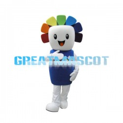 Cute Square Face Snowman Mascot Adult Costume