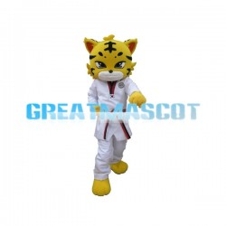 Adult Yellow Tiger Wearing Taekwondo Suit Cartoon Mascot Costume