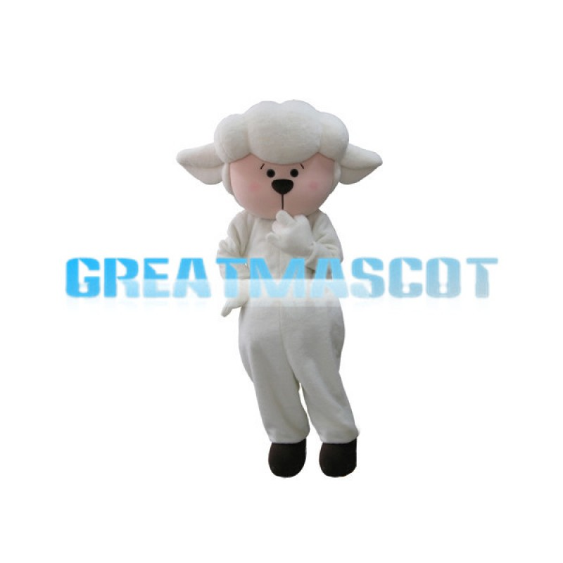 Adorable Cartoon Baby Sheep Mascot Adult Costume
