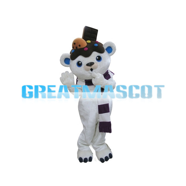 Adult Cute White Bear With Chocolate On Head Cartoon Mascot Costume