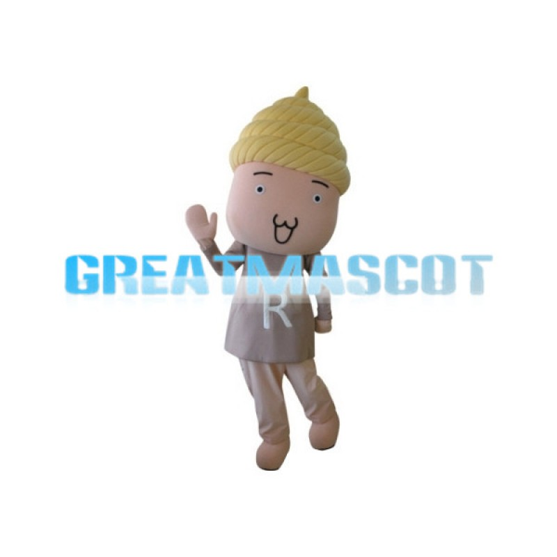 Friendly Boy With Poop On Head Cartoon Mascot Adult Costume