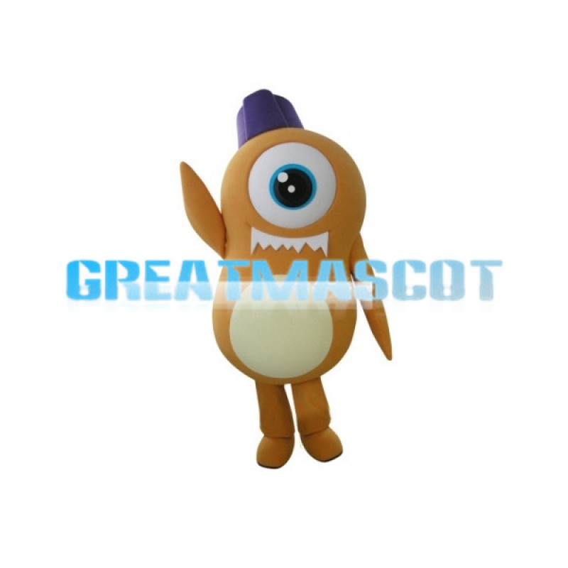 Orange Cyclops Cartoon Mascot Adult Costume