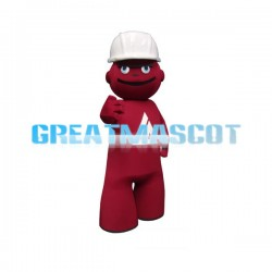 Red Puppet Wearing Hard Hat Cartoon Mascot Adult Costume