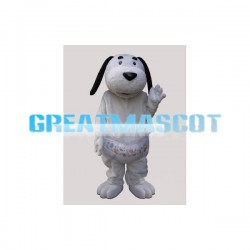 White Dog Wearing A Diaper Mascot Adult Costume