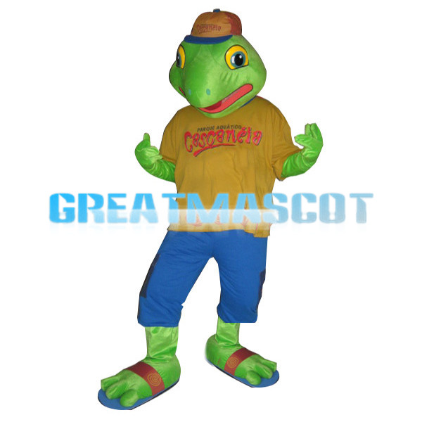 Green Dinosaur Cartoon Mascot Adult Costume