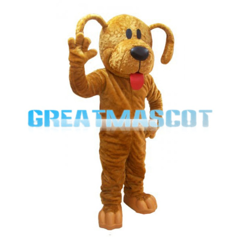 Yellow Dog With Its Tongue Out Mascot Adult Costume