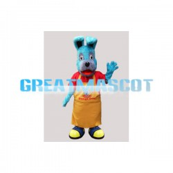 Blue Dog Wearing Apron Mascot Adult Costume