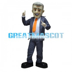 Smiling Businessman Mascot Costume