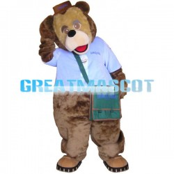 Cute Brown Lion With Brown Hat Mascot Adult Costume