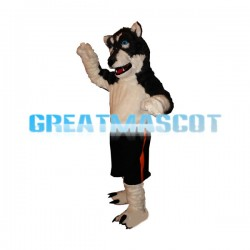 Adult Plush Black Husky Mascot Costume