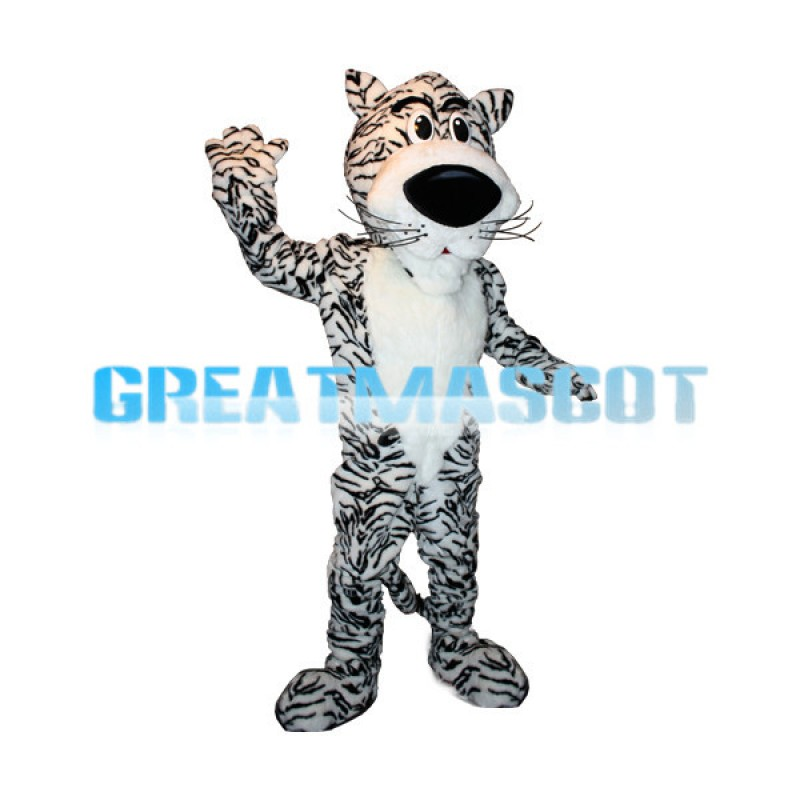 Adult Plush White Tiger Mascot Adult Costume