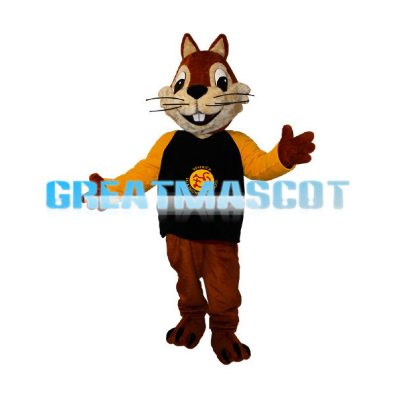 Smiling Red Squirrel Mascot Animal Fancy Dress Costume