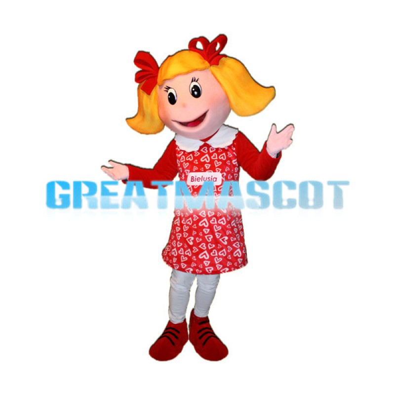 Girl With Ponytail Mascot Adult Costume
