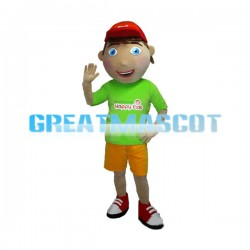 Shy Boy Wearing Red Peaked Cap Mascot Adult Costume