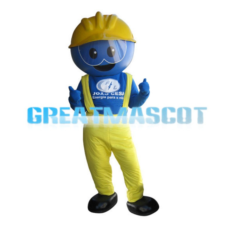 Cartoon Blue Face Engineer Mascot Adult Costume