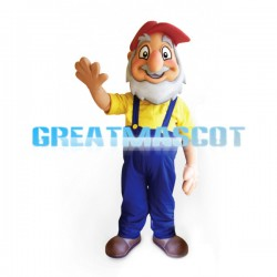 Friendly Senior Man Wearing A Red Peaked Cap Mascot Costume