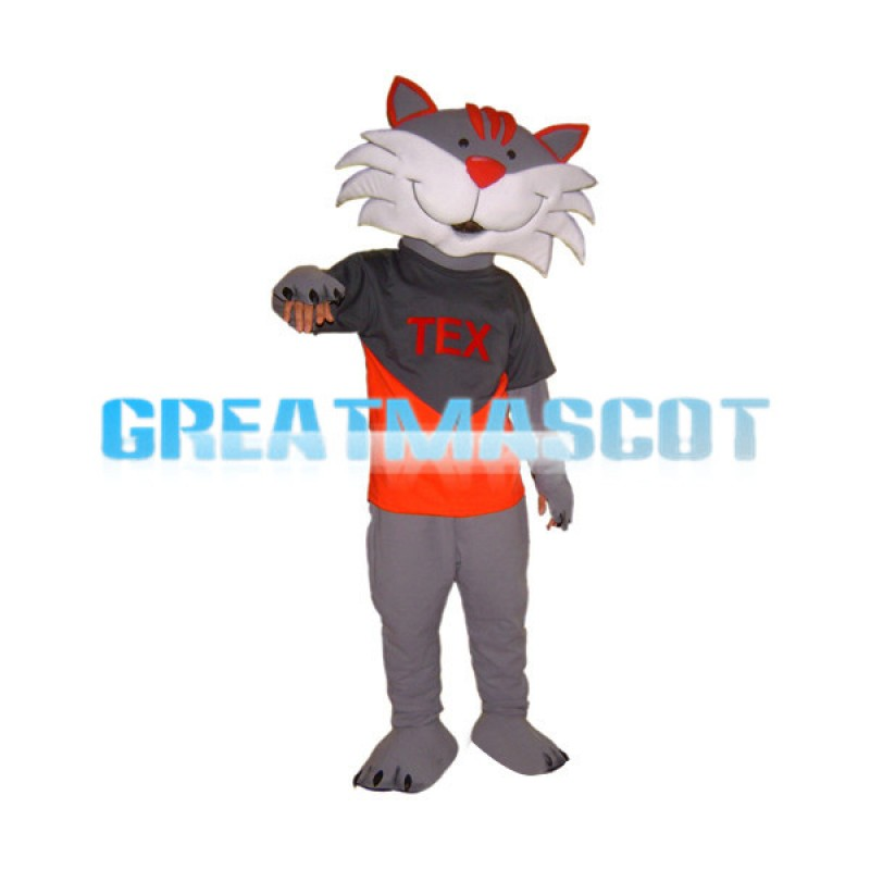 Friendly Gray Fox With Red Nose Mascot Costume