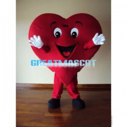 Smiling Cartoon Red Heart Mascot Adult Costume