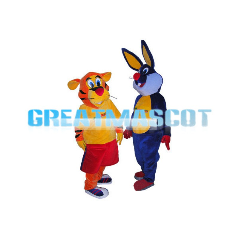Adult Size Blue Bugs Bunny & Leaping Tiger Mascot Cartoon Character Costume
