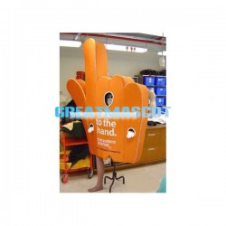 Orange Giant Hand-shaped Mascot Adult Costume