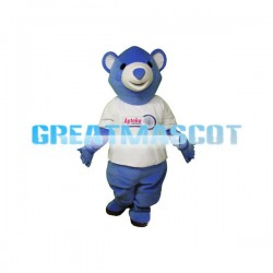 Adult Cartoon Blue Bear Mascot Costume