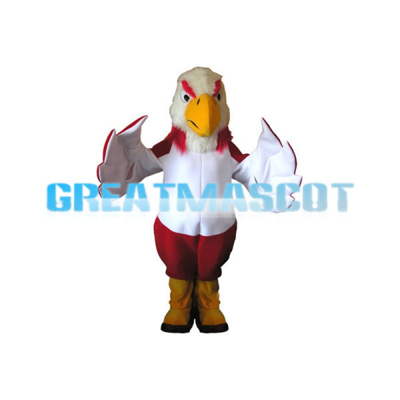 Adult Plush Red & White Eagle Mascot Costume