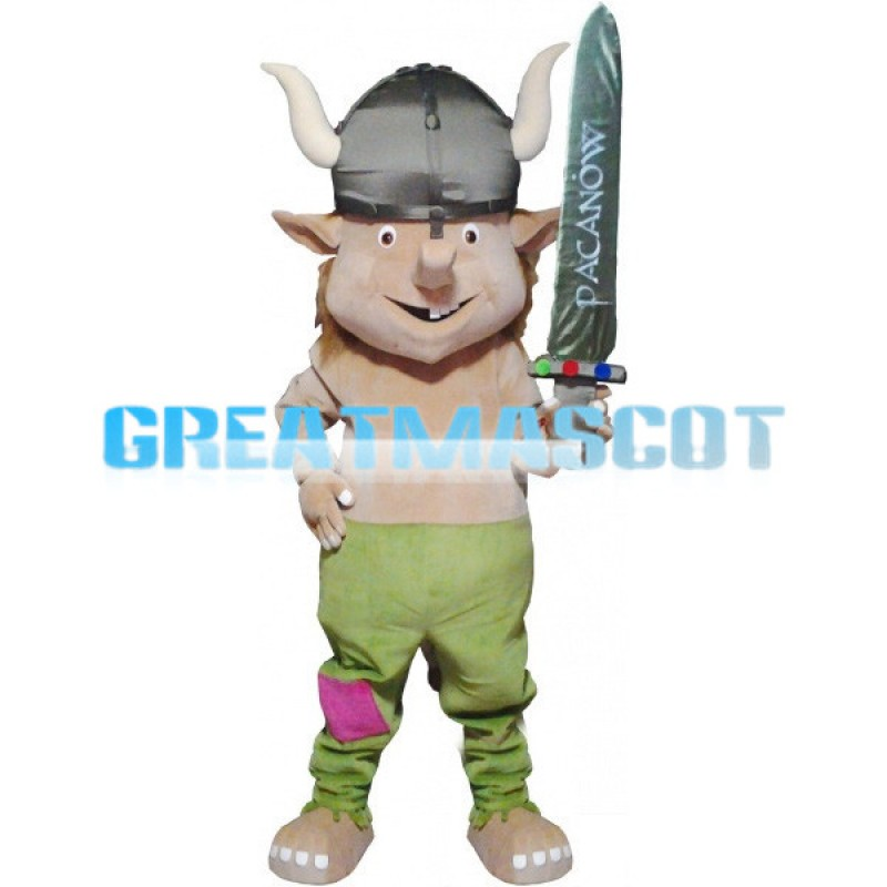 Viking With A Sword Mascot Costume