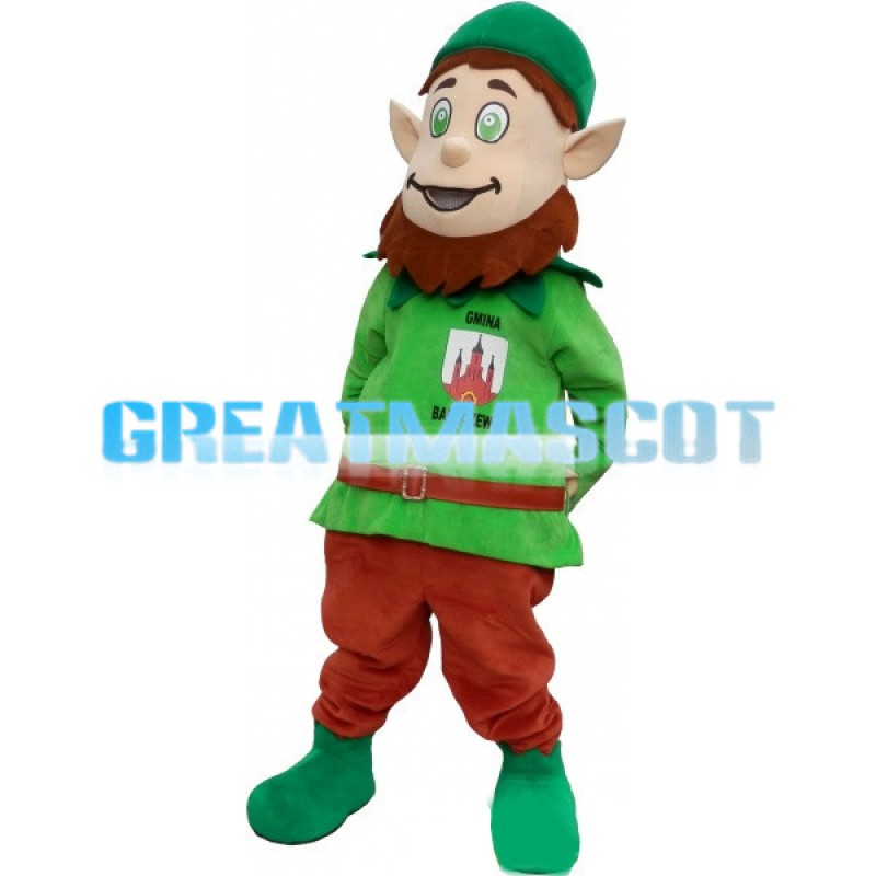 Green Dwarf Mascot Costume Cartoon Character