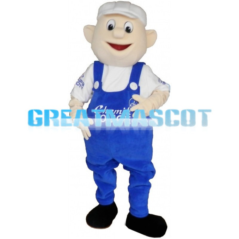 Boy In White Hat And Blue Overalls Mascot Costume