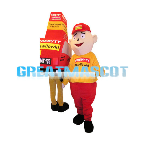 Boy In Red Hat And His Red Shopping Cart Mascot Costume