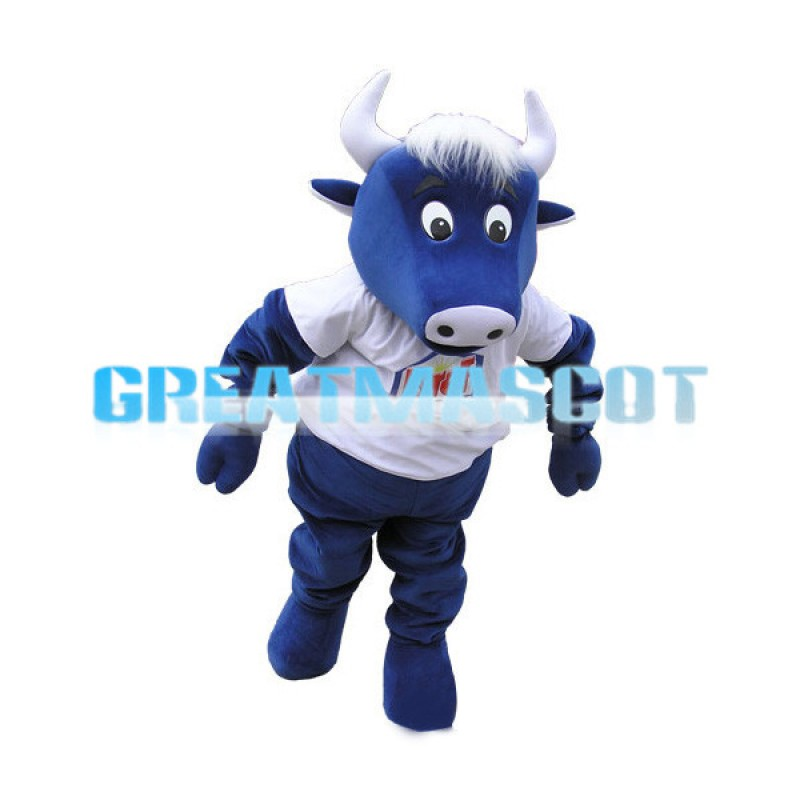 Adult Blue Bull Mascot Costume