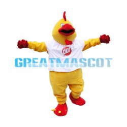 Adult Red & Yellow Rooster Mascot Costume
