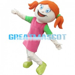 Little Girl In Pink Dress Mascot Adult Costume