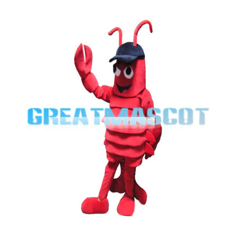 Adult Size Lobster In Blue Hat Cartoon Mascot Costume