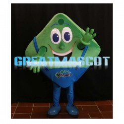 Smiling Cartoon Green Square In Overalls Mascot Costume
