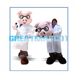 Adult Plush Pink Pig With Glasses Mascot Costume