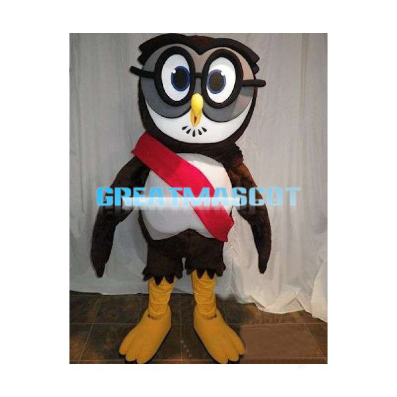 Black Owl With Glasses Mascot Adult Costume