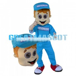 Young Man Dressed In Blue With A Cap Mascot Costume