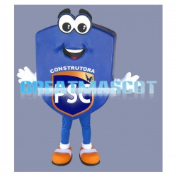 Adult Cartoon Blue Shield Mascot Costume